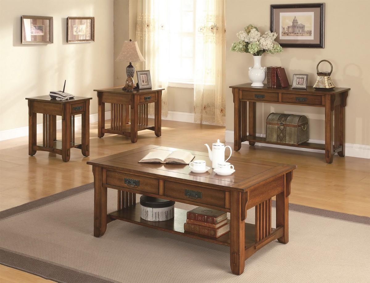 Mission Style Furniture. Warm Brown Oak 4 PC Occasional Table Set