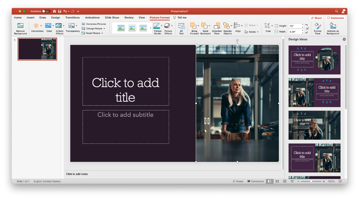 """A graphic to illustrate how to add pictures to Powerpoint: simply click and drag a stock photo from your desktop into the program, and take a look at the """"Design Ideas"""" column for layout inspiration. You can also add a picture to powerpoint by going to Insert ><p class="""