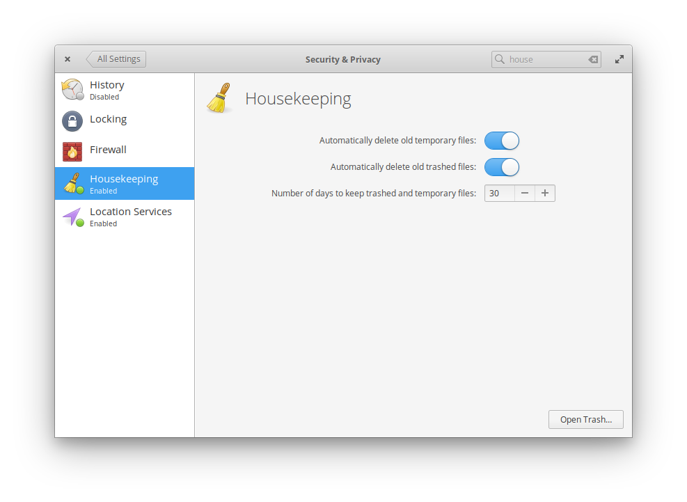 Housekeeping in SystemSettings