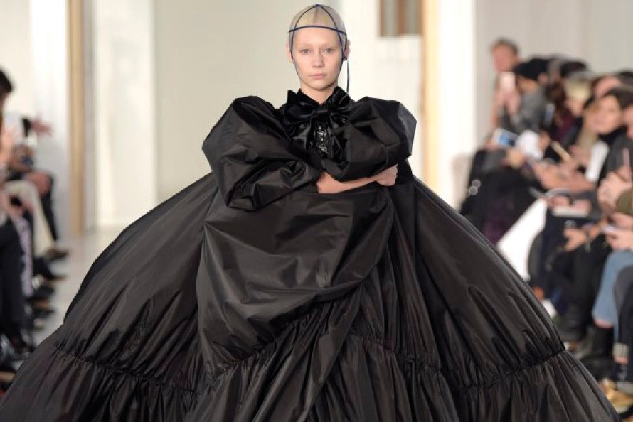 A Billowing Black Taffeta Gown Eared To Have Been Virtually Plucked From Cristobal Balenciaga S Imagination