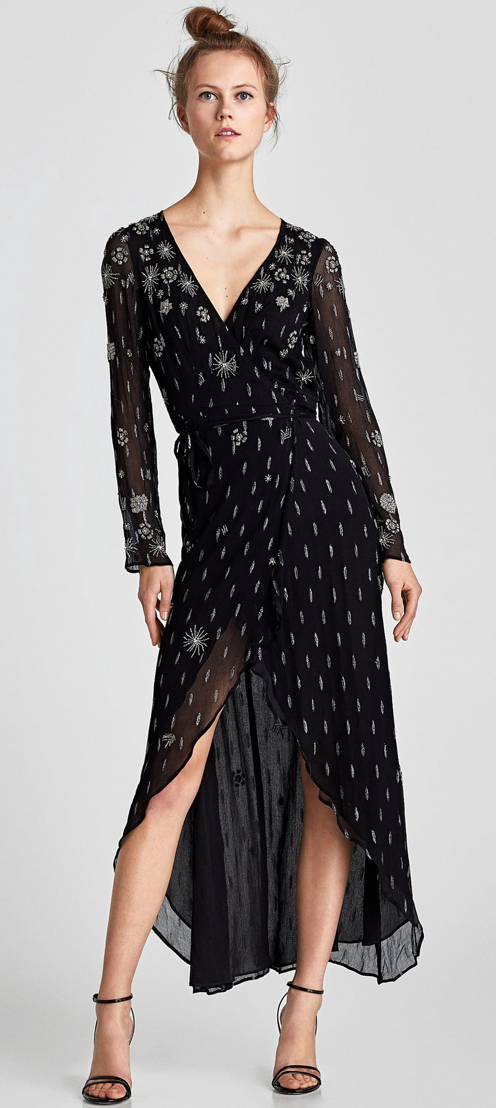 44986b5e7ffe Black Limited Edition Embroidered Jacquard Dress, $129 and Midnight Blue  Crossover Dress with Belt, $119: A dramatic but easy to wear long dress  with a ...