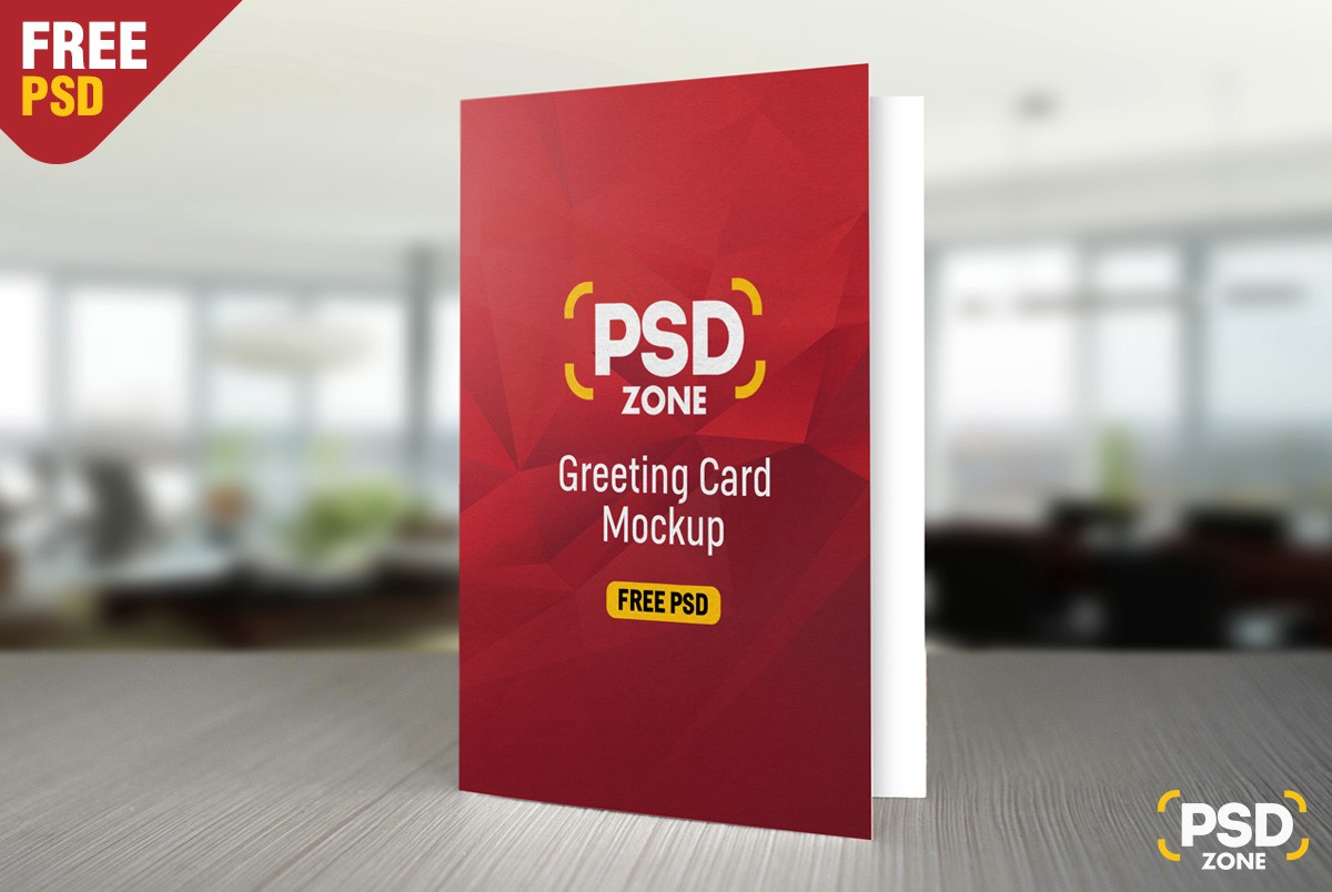 Greeting card mockup free psd psd zone medium here we have a high quality greeting card mockup free psd with a front view you can use to showcase your greeting or invitation card design in a realistic m4hsunfo