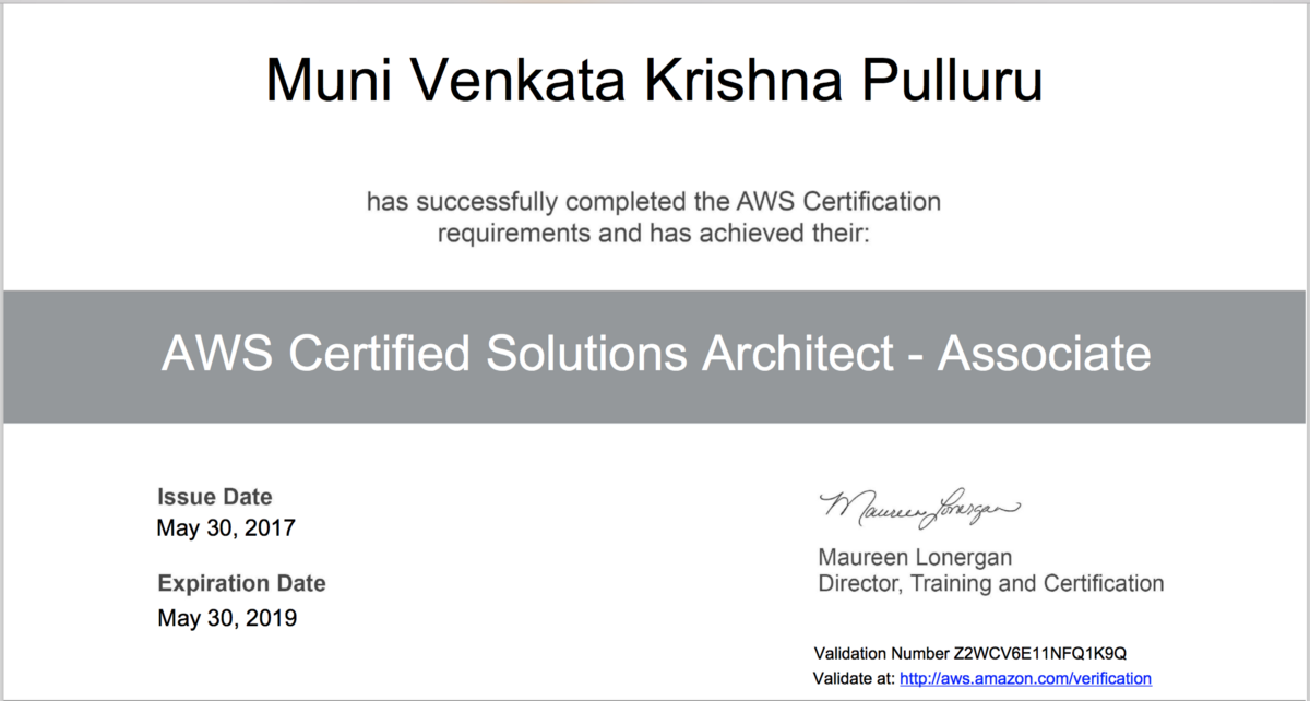 I\'m now AWS Certified Solution Architect (Associate)