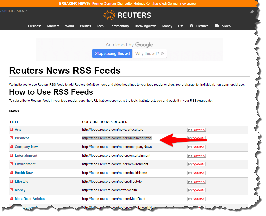 microsoft excel \u2014 rss news feed into excel using powerquery?reuters rss feed list \u2014 www reuters com tools rss