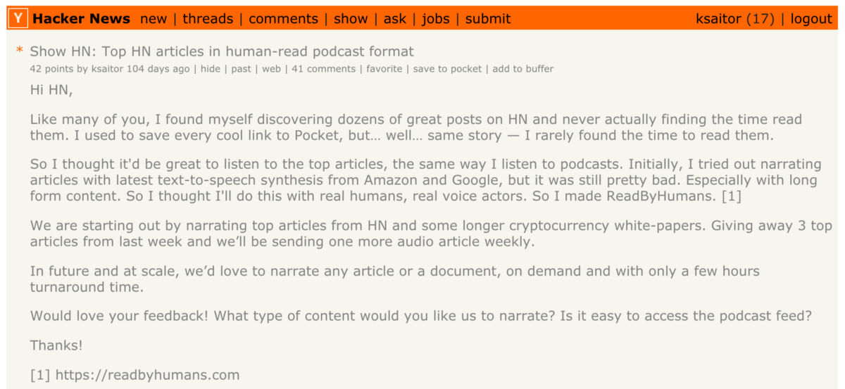 HN Screenshot