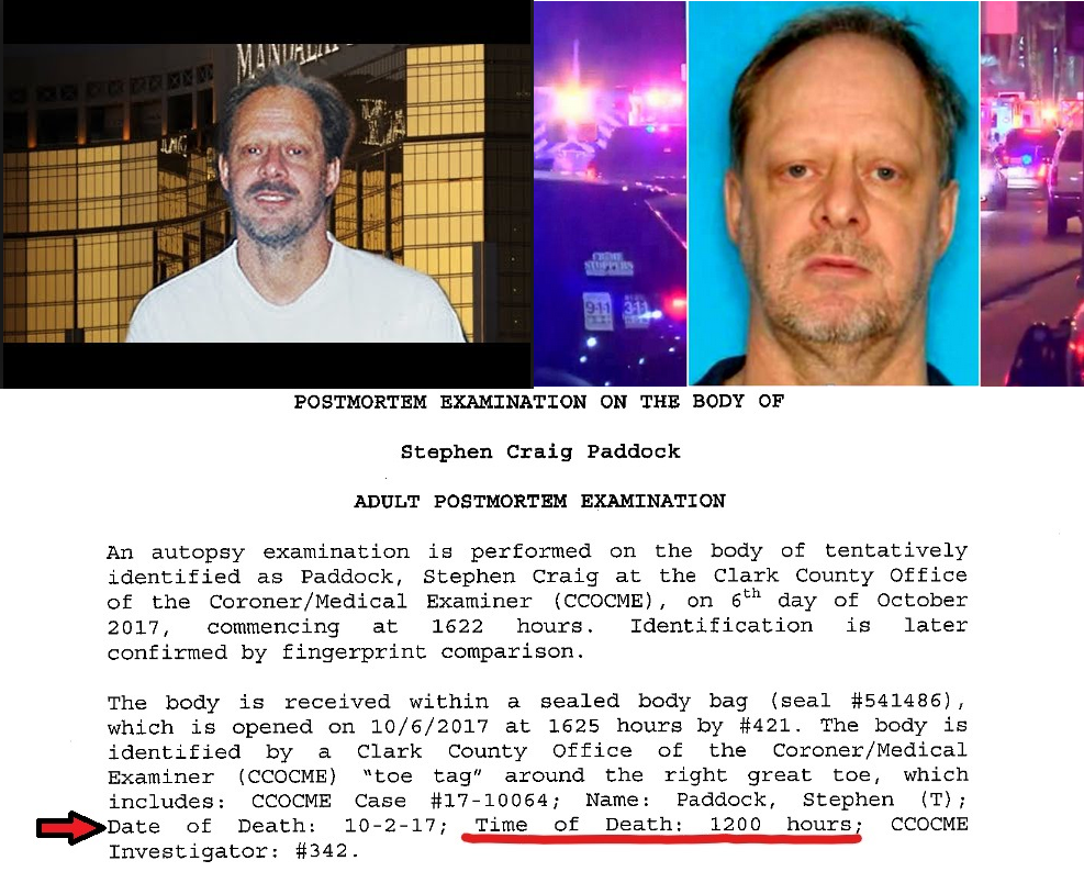 Stephen Paddock Autopsy Reveals Time Of Death At 1200 Hours (Noon) The NEXT DAY