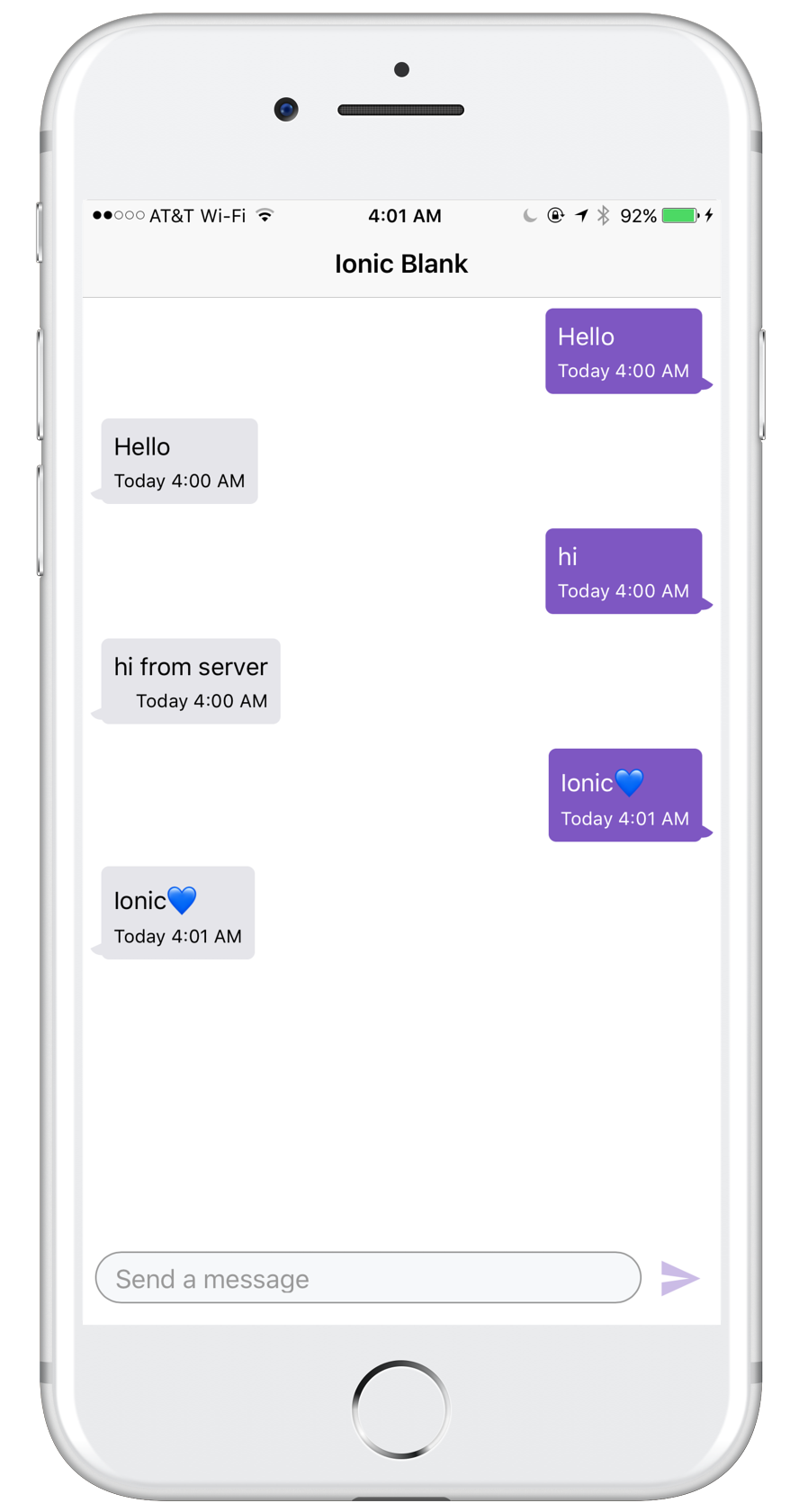 Ionic chat application