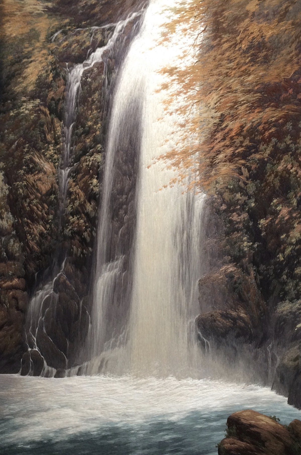 Waterfall At Mino Silk On Silk Embroidery