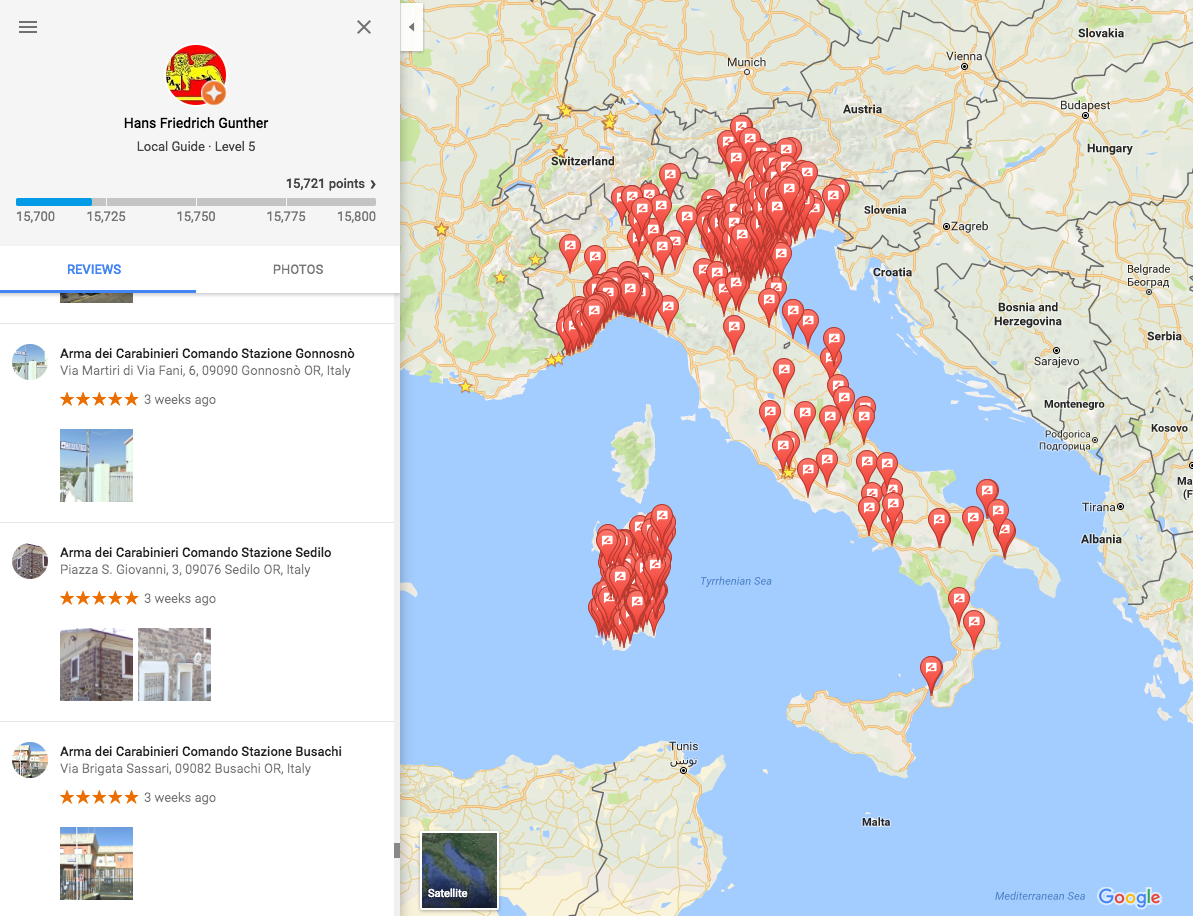 Hundreds Of Fake 5 Star Reviews To Italian Police Stations Spotted