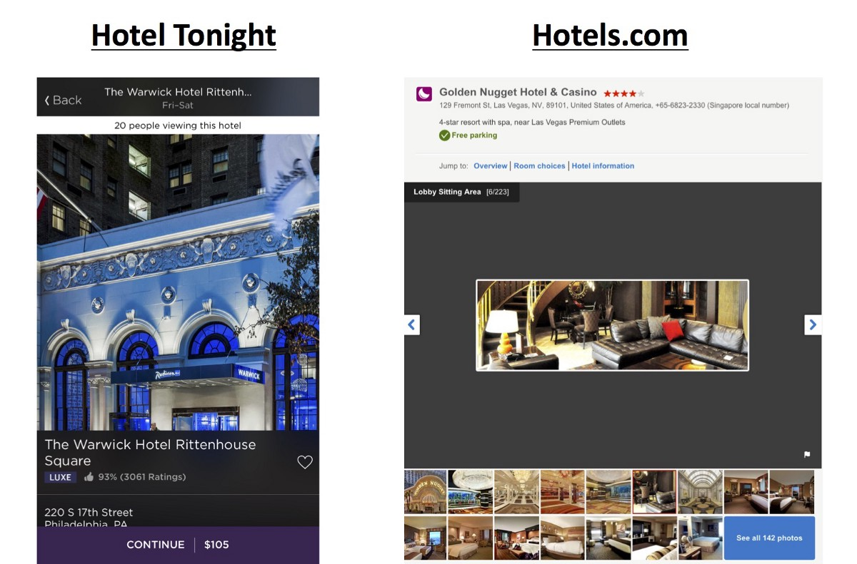 Hotel Tonight Photography Versus Compeor Hotels