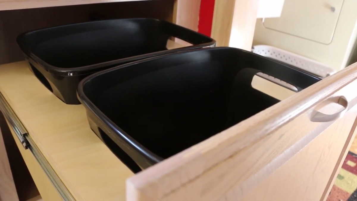 how to build a diy pull out trash can cabinet project lab medium. Black Bedroom Furniture Sets. Home Design Ideas