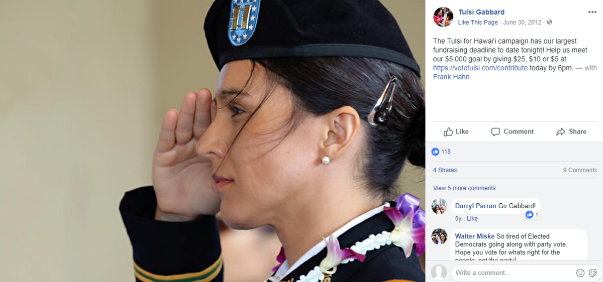 Tulsi Gabbard Violated Military Regulations for Political Gain in Every Campaign Since 2012