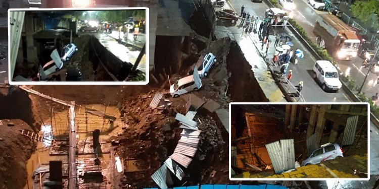 Parked vehicles fall into sink hole as Thane road caves in