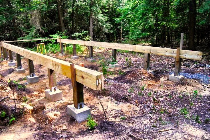 How to install pier and beam foundations rising barn for Wood piling foundation