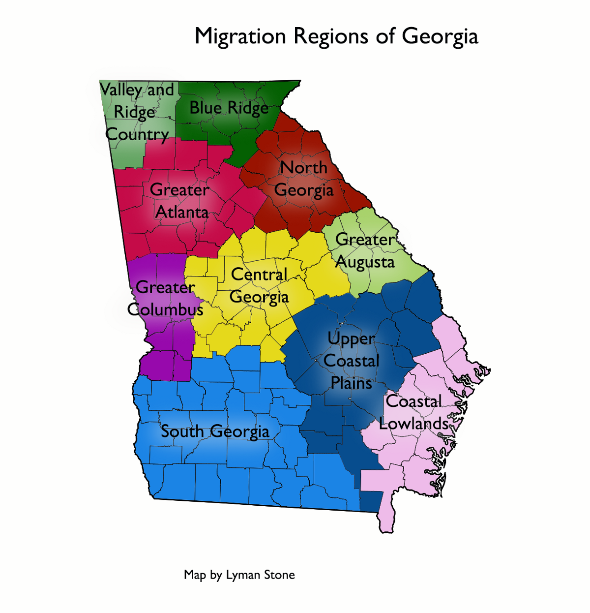 Mapping Migration In Georgia In A State Of Migration Medium - Georgia map with regions