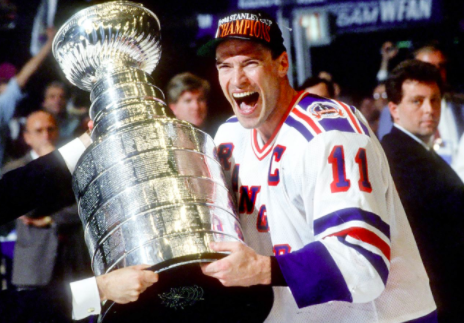 """Rangers captain Mark Messier celebrates with the Stanley Cup in 1994.  """"Defining Moments in New York ... e07c40614"""