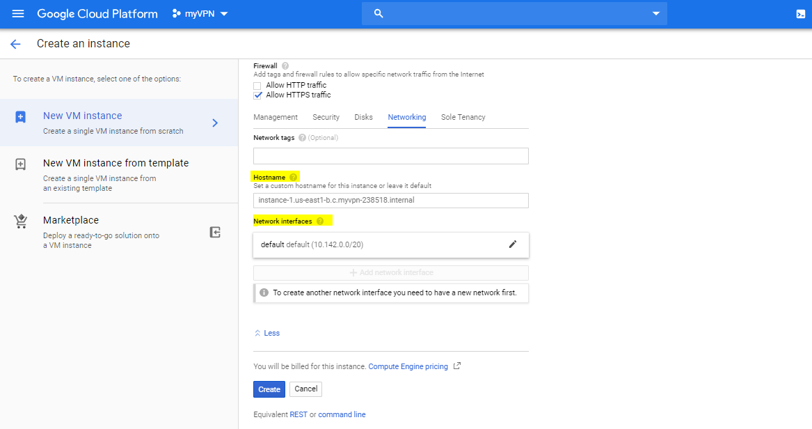 google cloud platform - compute engine network settings