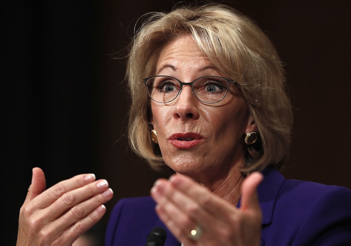 Betsy DeVos says guns in schools may be necessary to protect students from grizzly bears