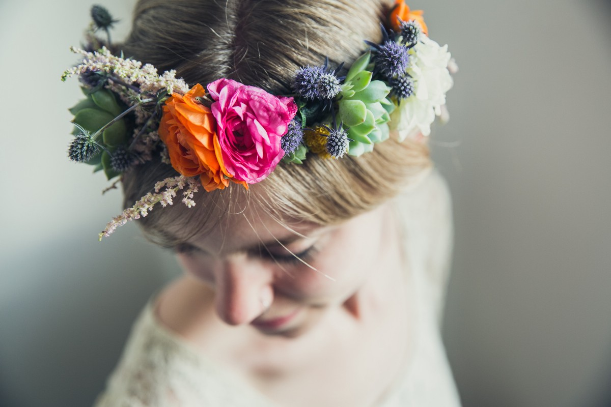 succulent flower crown in 5 steps
