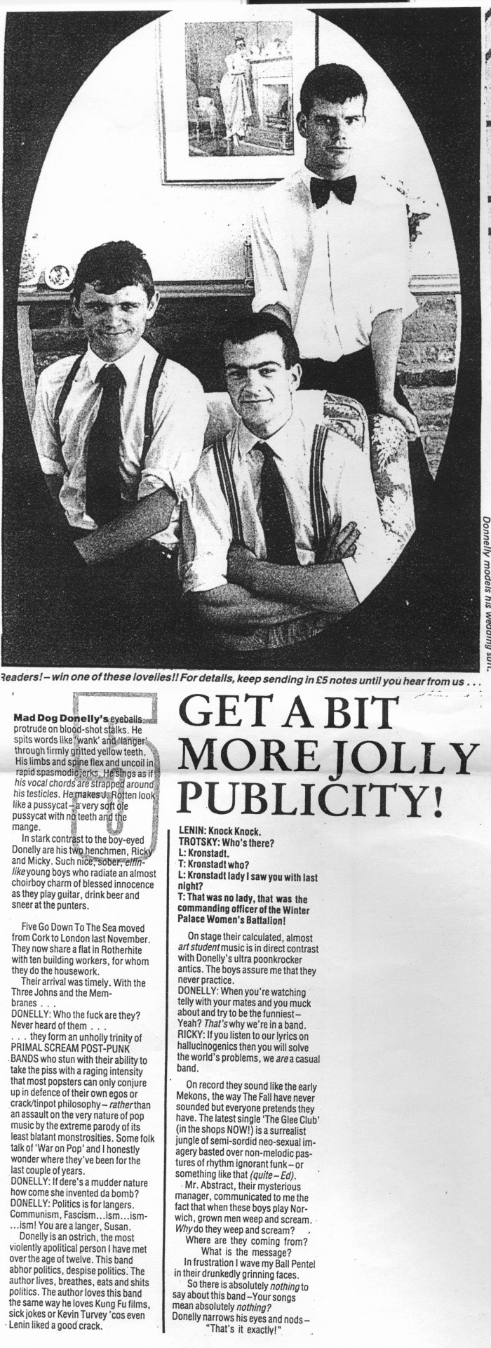 So he begrudgingly took to facebook to sell the suit and also decided -  5 Get A Bit More Jolly Publicity Published In The Nme 3 November 1994 Image From John Byrne