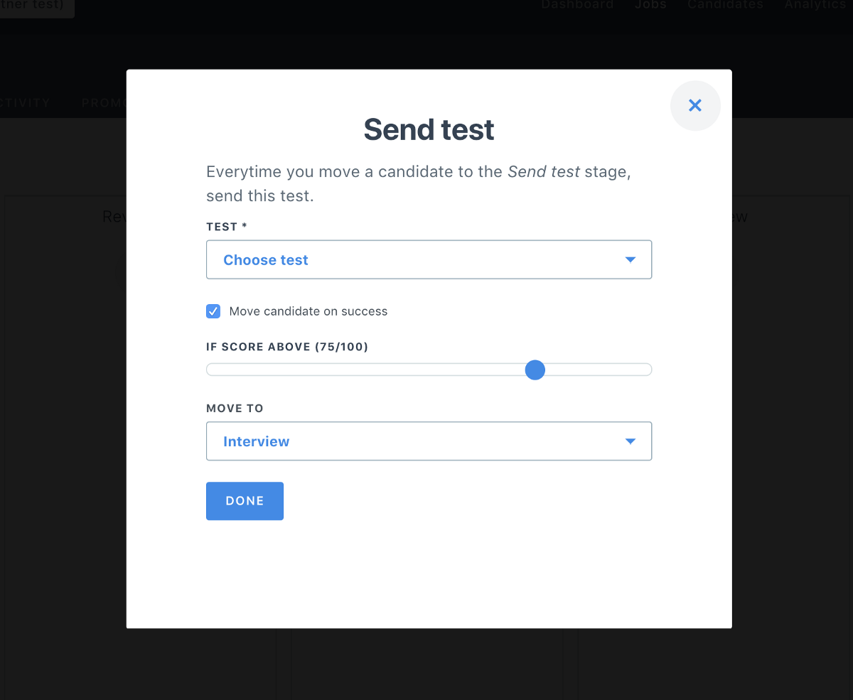 The Modal Form For Our New Automated Candidate Testing Feature