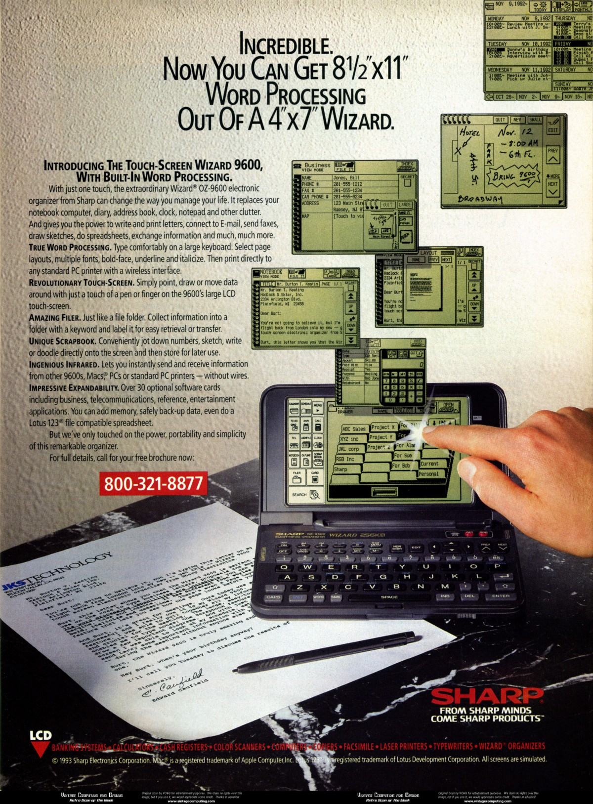 The Wizard devices were sold through the 1990s — this ad for 1994's OZ-9600 shows off a new version's touchscreen. Credit: Sharp