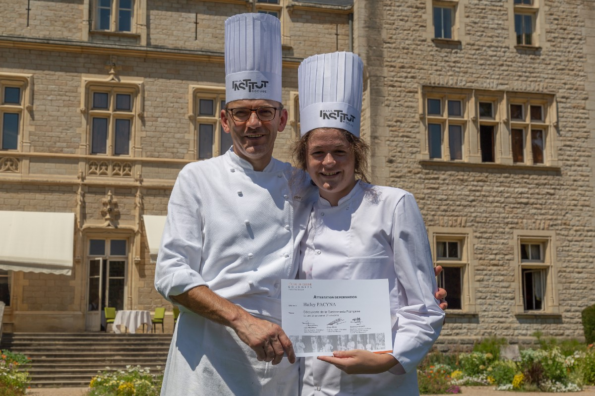 Pacyna And Her Chef Instructor On Graduation Day At The Institut Paul Bocuse