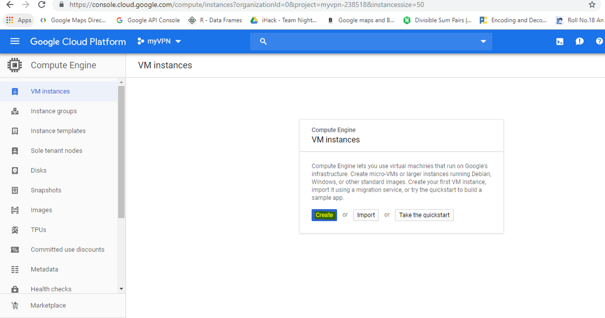 google cloud platform - create new vm instance