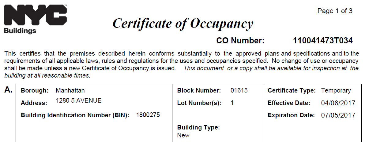 Why Don\'t We Have a Final Certificate of Occupancy for 1280?