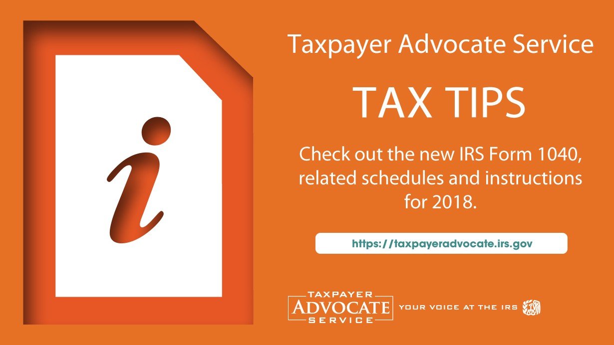 Tas Tax Tip New 2018 Form 1040 Changes And Helpful Hints