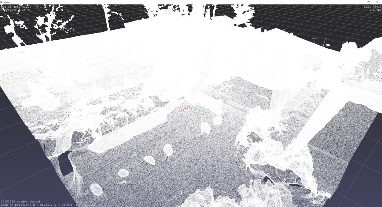 Point cloud visualised in PPTK