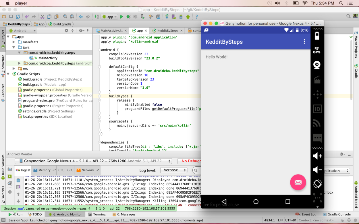 Android Studio with Kotlin