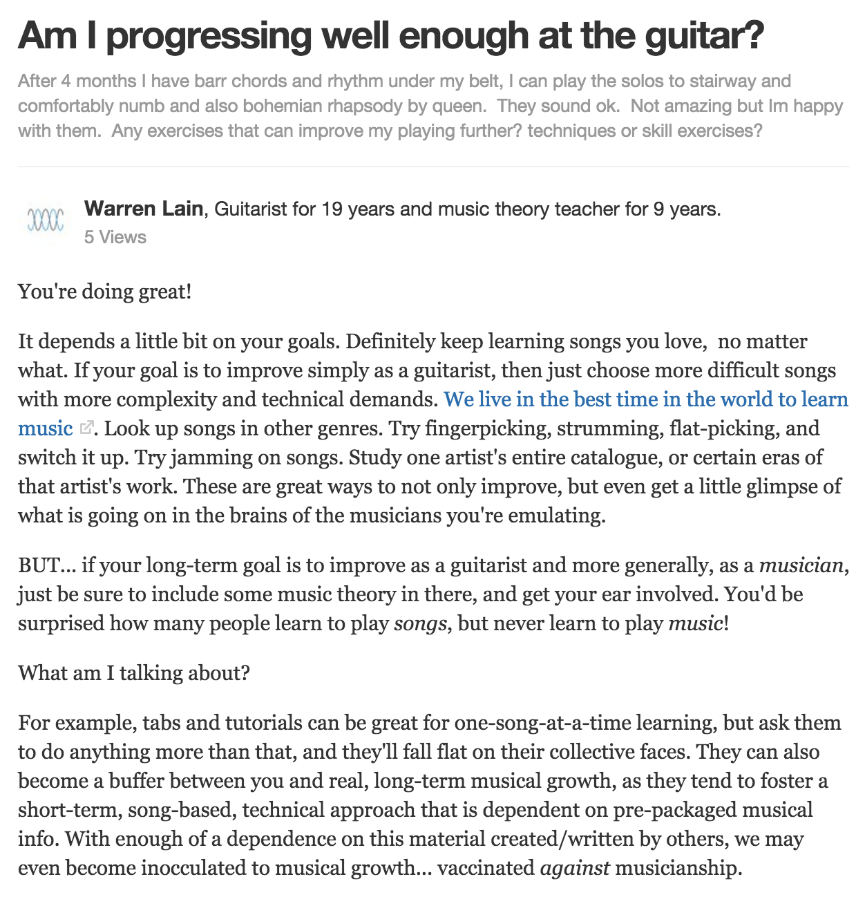 Are You Progressing Well Enough On The Guitar Warrenmusic Medium