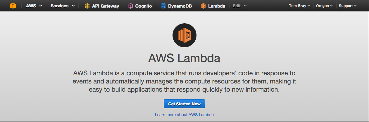 Getting started with aws lambda node js tom bray medium click the get started now button malvernweather Images