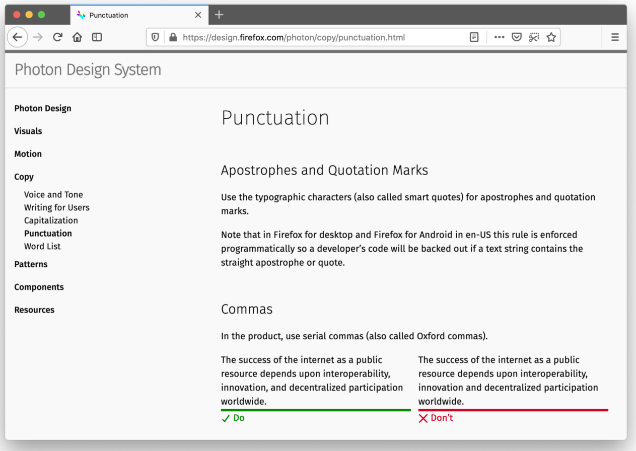 Screenshot of the punctuation guidelines for the Firefox Photon Design System.