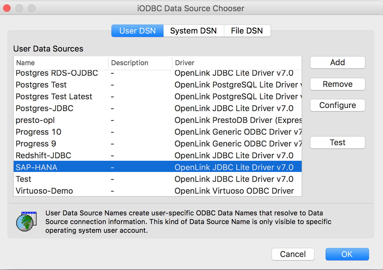 Connecting to SAP HANA via ODBC on macOS - Open Database