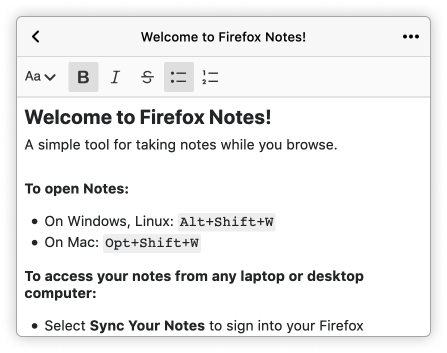 Screenshot of the Firefox Notes extension welcome screen. Includes larger welcome text and instructions in in bullet points on how to use the app.