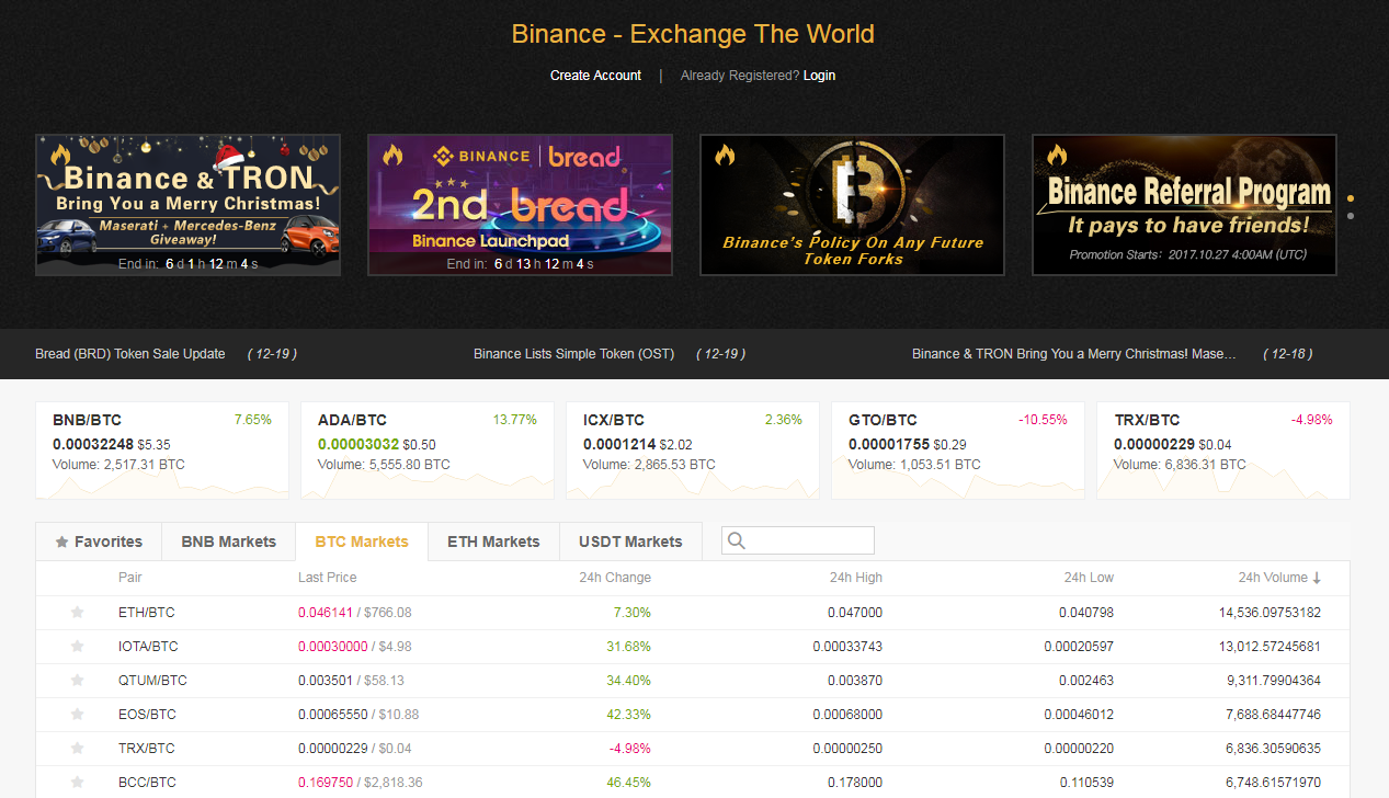 Image screenshot from Binance Exchange