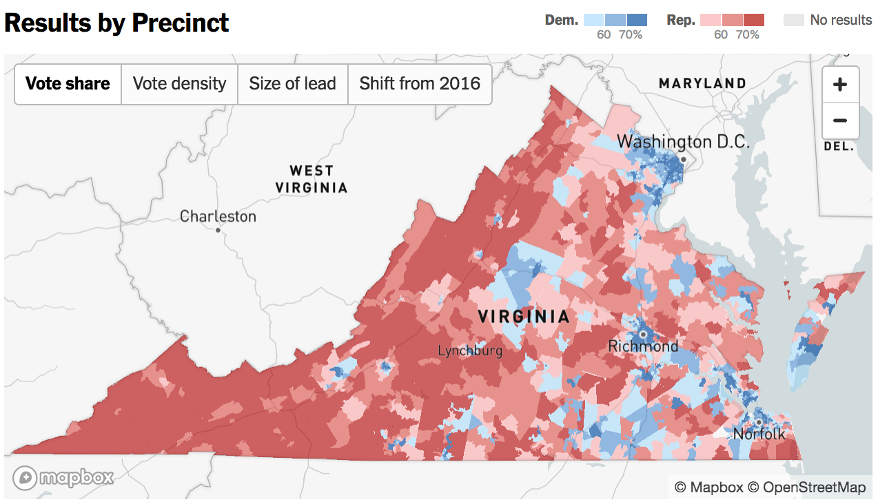 New York Times Livemapping Virginia Election Points Of Interest - New york times electoral map
