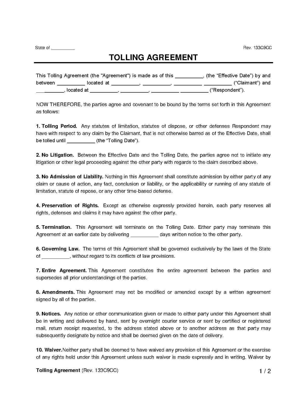 Tolling Agreement At Templateshunter Templatehunters Medium