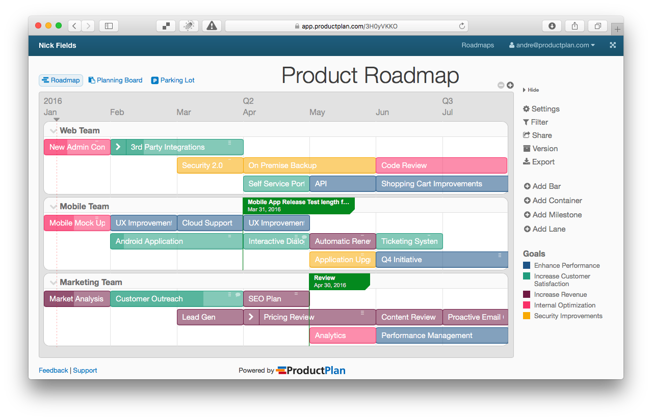 roadmap is your vision tool the input to creating a roadmap can come from many other parties users developers designers ceo shareholders
