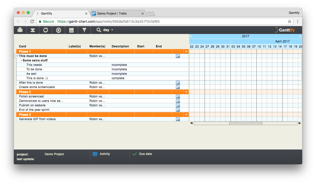 How to create a gantt chart for trello ganttify ganttify aggregated all the trello board data into a list view to create a gantt chart nvjuhfo Choice Image