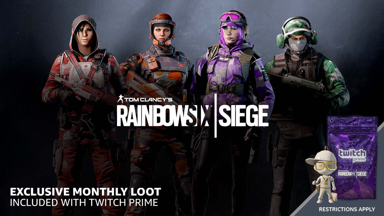 Get exclusive monthly loot in Rainbow 6 Siege with your Twitch Prime