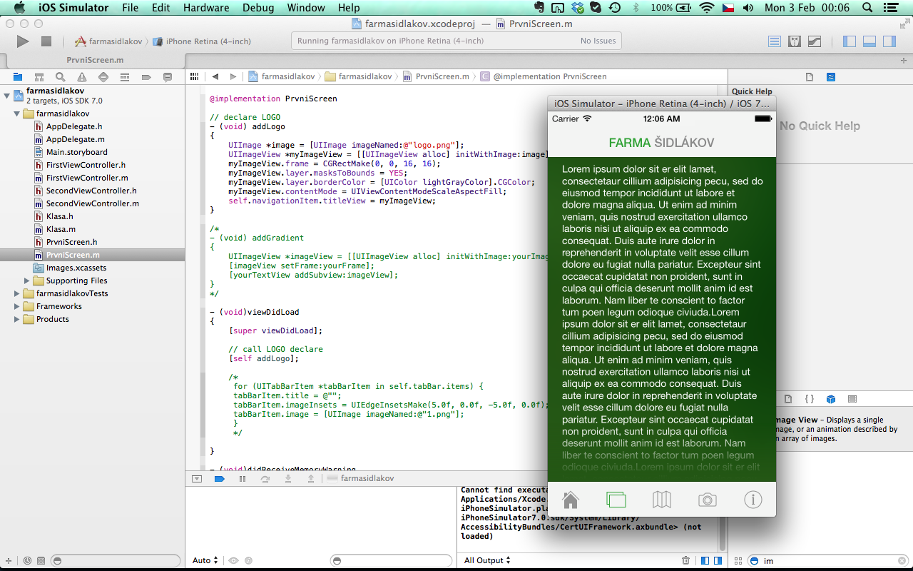 A Work In Progress Of The First Application Version Xcode