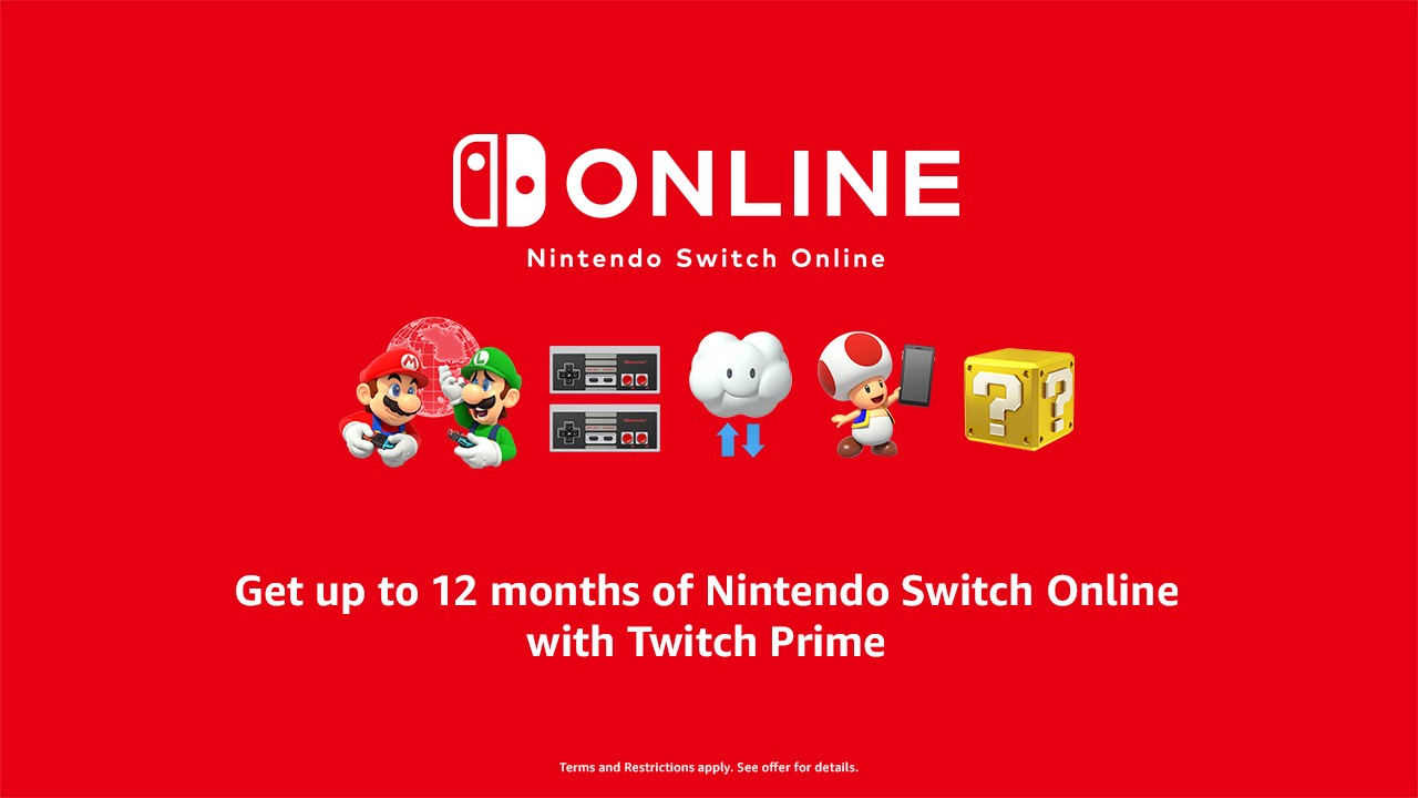 Twitch Prime members get up to one year of Nintendo Switch Online