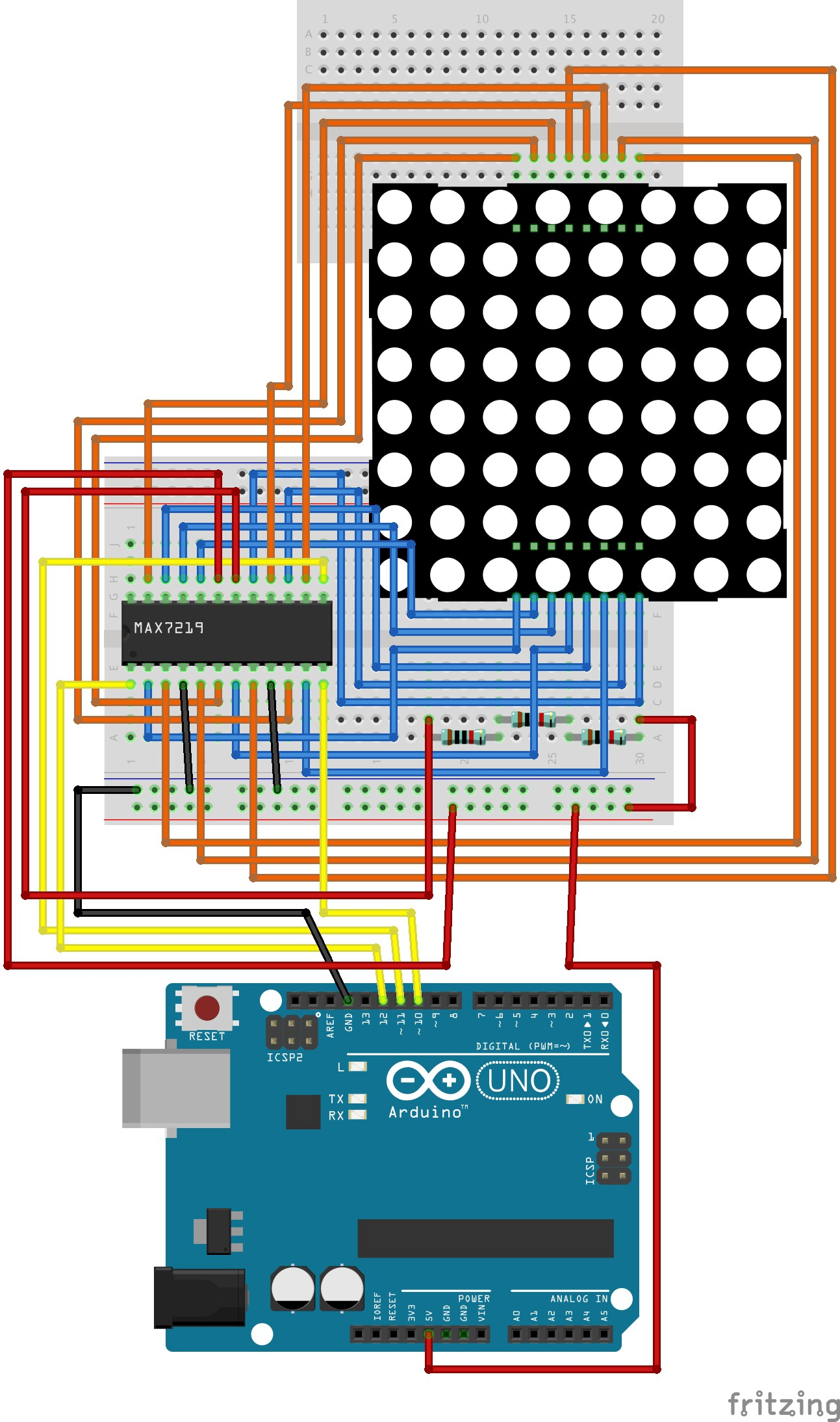 Arduino Led Matrix 88 Max7219 And Uno R3 Voltage Power Supply Circuit Furthermore 1 Watt Driver The Is Quite Straight Forward Except We Have A Resistor Between 5v Pin 18 Constant Current Value