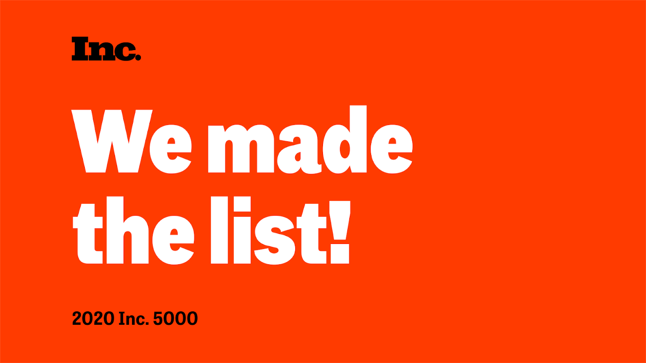 Text in the image shows that Doctible made the 2020 Inc. 5000 list.