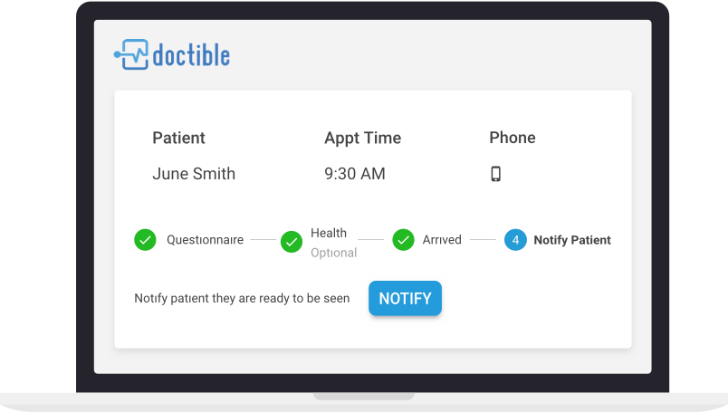 This image shows a simplified version of Doctible's Virtual Waiting Room. Shown are indicator lights highlighting when a patient passes or doesn't pass a COVID health screening and telling the office staff when they are ready to enter the physical waiting room.