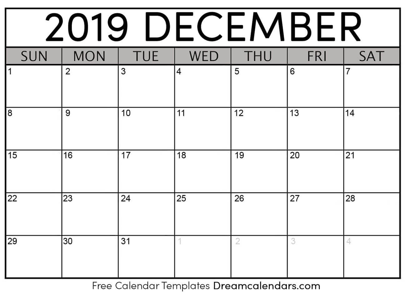 Printable December 2019 Calendar Templates Helena Orstem Medium