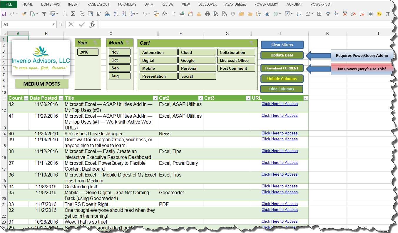 Workbooks unhide personal workbook : Microsoft Excel — Automated Content Resource Dashboard